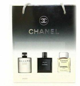 Подарочный набор chanel духи 3 в 1 15 ml мужской