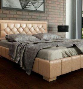 Кровать 160 Кожа бежевая с ящиком для белья.