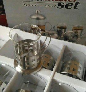 Чайно-кофейный новый набор стаканов 6 шт