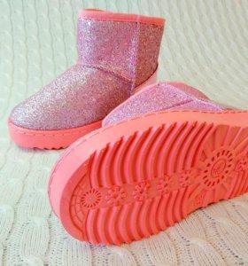 Блестящие 💞 розовые угги на маленькую модницу 👑