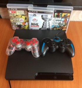 Playstation 3 (PS3) slim 300gb(3 игры)