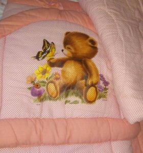 Бортики на кроватку,плюс одеялко,плюс балдахин