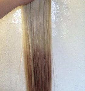 Волосы на заколках омбре !!!