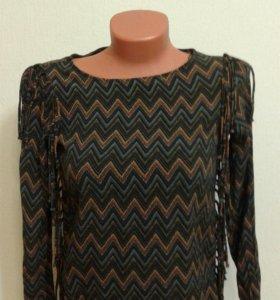 Блузка Zara бохо с бахромой
