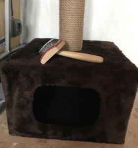 Домик с когтеточкой +щетка