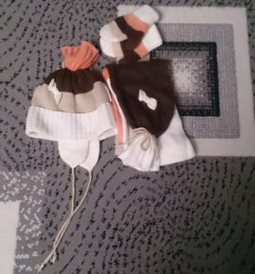 Комплект шапка, варежки, шарф