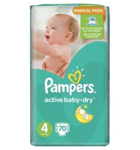Подгузники Pampers Active Baby-Dry 4 (8-14) 70 шт