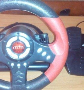Игровой руль с педалями для компьютера