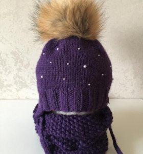 Зимний комплект шапка и снуд