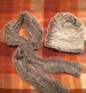 BISOUS шарф и шапка из натурального меха кролика