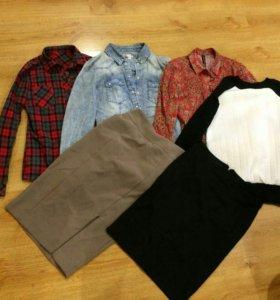 Рубашка, свитшот, юбка