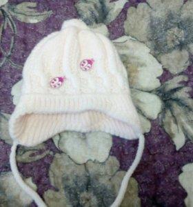 Детская зимняя шапочка на девочку от 0-3мес.