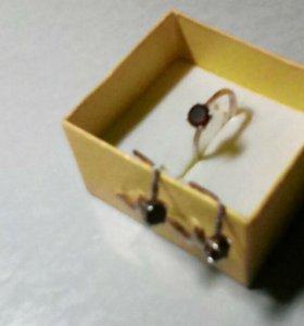 Гарнитур серьги и кольцо, серебро 925 пробы