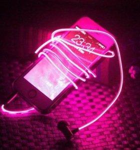 Светящиеся наушники Glow с розовым свечением