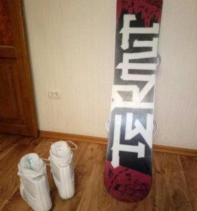 Комплект сноуборд, крепления, ботинки
