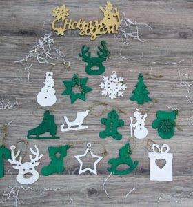 Новогодние игрушки ручной работы из дерева