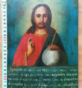 Икона 19 век Господь Вседержитель с молитвой.