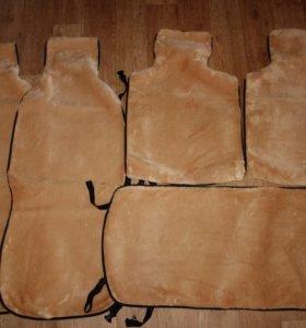 Комплект меховых чехлов - накидок (бежевые)