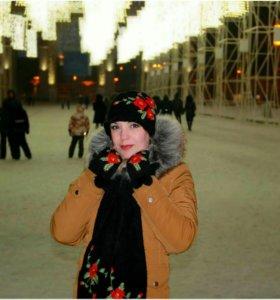 Варежки, шарф, шапка ручное вязание