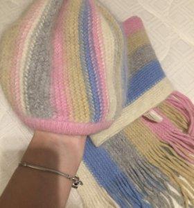 Шапка + шарф новые!