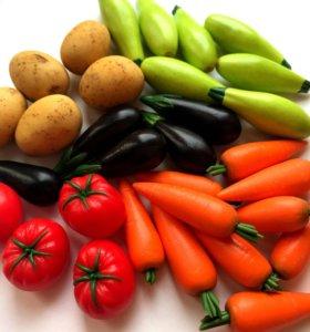Фрукты, овощи из полимерной глины