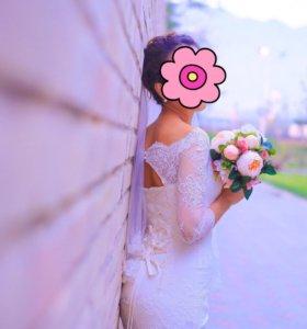 Свадебное платье +фата длинная цвет Ivory