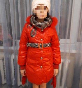 Пальто зимнее на девочку 7-9лет