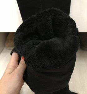 Зимние теплые сапоги замшевые ботфорты высокие