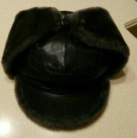 Мужская комбинированная зимняя шапка, 54 размер