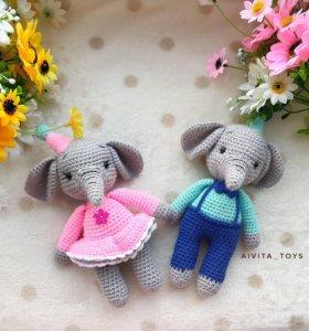 Вязаные игрушки слоники