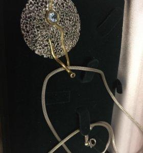 Серебряная цепь и подвеска с топазом