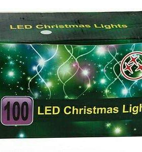Электрогирлянда LED уличная ,100 разноцветных ламп