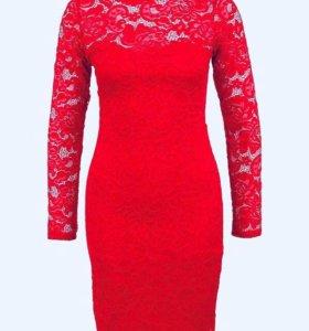 Платье INCITY кружево гипюр красное S новое
