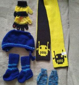 Шапка шарфы  носки и рукавички
