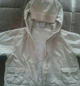 Куртка детская+2 шапочки на 6-12мес.