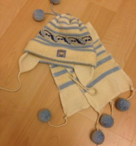Шапка и шарф, комплект детский