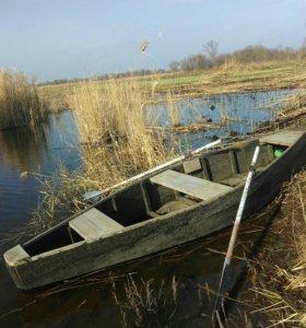 Лодка плоскодонка деревянная