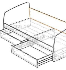 Кровать односпальная с 2 выдвижными ящиками