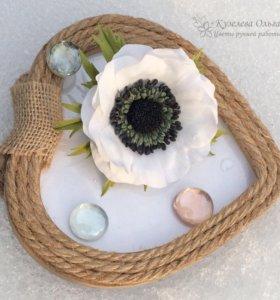Брошь с цветком Анемона из фоамирана