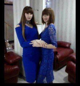 Платье синее кружевное🎅🎅🎅