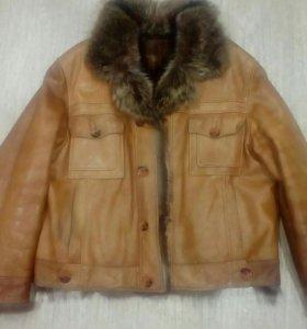 Мужская зимняя куртка, кожа натуральный мех.