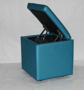 пуфик экокожа синий(L)