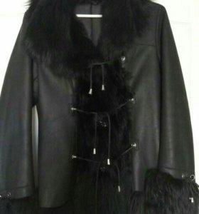 Кожаная куртка-дубленка с натуральным мехом