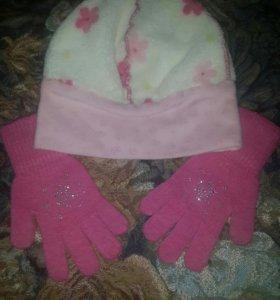 Детские шапочка+перчатки