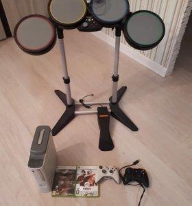 Xbox 360 + барабан + наушники
