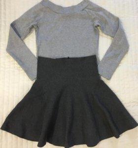 Свитера, юбка, кожаные леггинсы, блузка