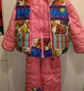Осенний комбинезон с жилеткой для девочки