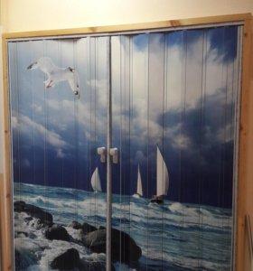 Дверь гармошка с рисунком Яхты