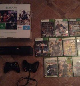 Xbox 360, 250 гигабайт, 9 игр + джостик