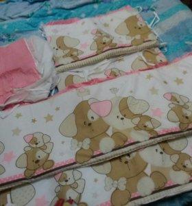 Бортики для детской кроватки с балдахином